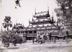 Exterior of the Central Hall of Queen's Golden Monastery, [Mandalay]